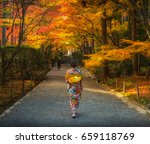 japanese woman walking with... | Shutterstock . vector #659118769