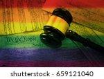 court gavel on rainbow flag... | Shutterstock . vector #659121040