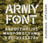 army alphabet font. distressed... | Shutterstock .eps vector #659126644