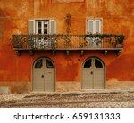 aged vintage building facade... | Shutterstock . vector #659131333