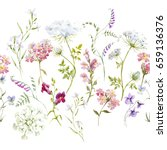 watercolor floral pattern ... | Shutterstock . vector #659136376