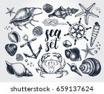 ink hand drawn set of marine... | Shutterstock .eps vector #659137624