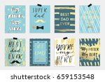 8 happy father's day postcards... | Shutterstock .eps vector #659153548
