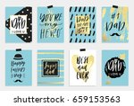 8 happy father's day postcards... | Shutterstock .eps vector #659153563