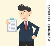 businessman checklist her job... | Shutterstock .eps vector #659156083