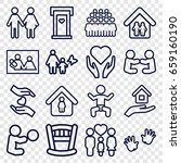 family icons set. set of 16... | Shutterstock .eps vector #659160190
