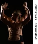 Small photo of men with muscular torso and strong male abs, fitness model in gym, twins