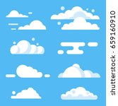 Vector Flat Cloud Set. Blue Sk...