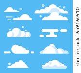 vector flat cloud set. blue sky ... | Shutterstock .eps vector #659160910