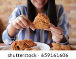 close up focus woman hand hold... | Shutterstock . vector #659161606
