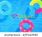swim rings on swimming pool... | Shutterstock .eps vector #659163940