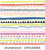 hand drawn pattern with fabric... | Shutterstock .eps vector #659164006
