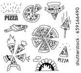 hand drawn pizza doodles | Shutterstock .eps vector #659166490