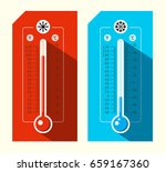 thermometer icons. hot and cold ... | Shutterstock .eps vector #659167360