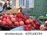 juicy pomegranates on a market... | Shutterstock . vector #659168194