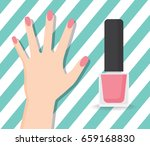 hand and nail polish layout... | Shutterstock .eps vector #659168830
