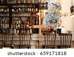 beer bar pub  long table with... | Shutterstock . vector #659171818