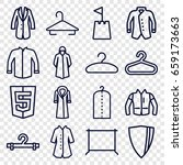 coat icons set. set of 16 coat... | Shutterstock .eps vector #659173663