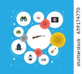 flat icons caravan  kerosene ... | Shutterstock .eps vector #659174770