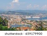 Panoramic view on La Spezia Liguria Italy. - stock photo