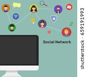 monitor and social network  wi... | Shutterstock .eps vector #659191993