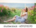 beautiful pretty woman is... | Shutterstock . vector #659193193