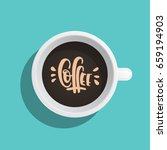 a coffee cup painted in a flat... | Shutterstock .eps vector #659194903
