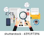 job interview concept with... | Shutterstock .eps vector #659197396