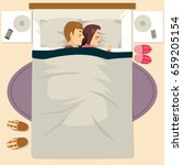 couple sleeping happy together... | Shutterstock .eps vector #659205154