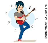 young boy playing electric... | Shutterstock .eps vector #659205178