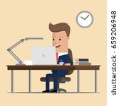 businessman  working on a... | Shutterstock .eps vector #659206948