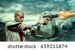 serious killer shoot a pistols... | Shutterstock . vector #659211874