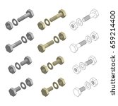 nuts bolts washers hardware... | Shutterstock .eps vector #659214400