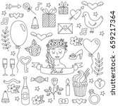 black and white graphic doodle... | Shutterstock .eps vector #659217364
