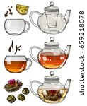 a tea set. teapot and a mug... | Shutterstock .eps vector #659218078