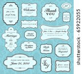 vector blue wedding frame set | Shutterstock .eps vector #65922055