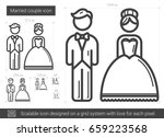 married couple vector line icon ... | Shutterstock .eps vector #659223568