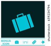 suitcase icon flat. blue...