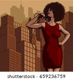 vintage poster with cityscape ... | Shutterstock .eps vector #659236759