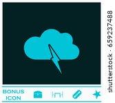 storm icon flat. blue pictogram ...