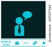 dialog icon flat. blue...