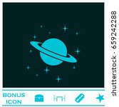 planet saturn icon flat. blue... | Shutterstock .eps vector #659242288