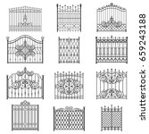iron gate line art set.... | Shutterstock .eps vector #659243188