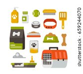 pet care icons. flat style... | Shutterstock .eps vector #659244070
