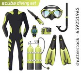 realistic snorkeling and scuba... | Shutterstock .eps vector #659251963