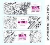 wines and gourmet snacks... | Shutterstock .eps vector #659254543