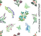watercolor pattern of flowers... | Shutterstock . vector #659257069