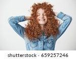portrait of foxy beautiful girl ... | Shutterstock . vector #659257246