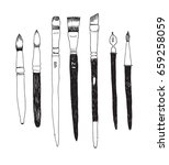 set of hand drawn brushes. art... | Shutterstock .eps vector #659258059