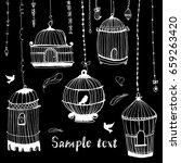 birdcage print.the bird in the... | Shutterstock .eps vector #659263420